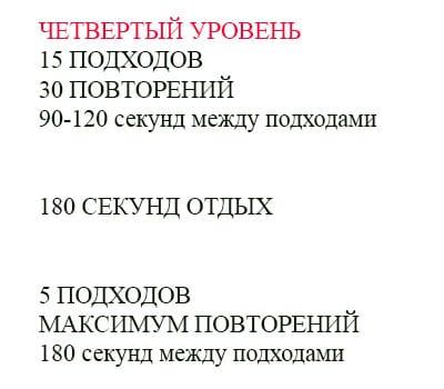 Четвертый уровень отжиманий таблица