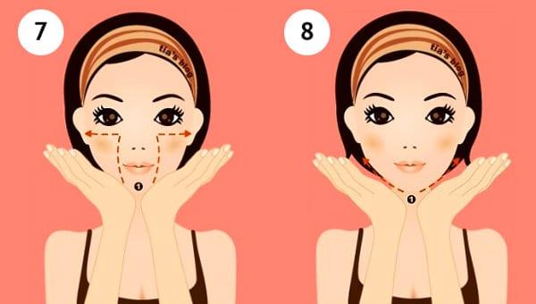 7- 8 поднимаемся одной рукой по щеке вверх, затем уводим ладошку вбок (второй рукой придерживаем другую щеку)