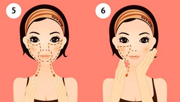 5 - массируем двумя руками зону вокруг рта под глазами и спускаемся по щекам, 6- проводим по носогубной складке, под глазами и спускаемся по щекам (повторяем с другой стороны)