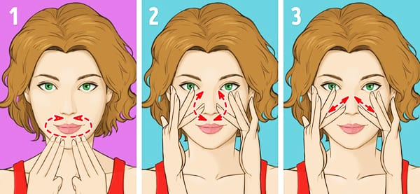 "Упражнение № 4 - ""Массаж носогубной области"", Упражнение № 5 - ""Массаж носа"""