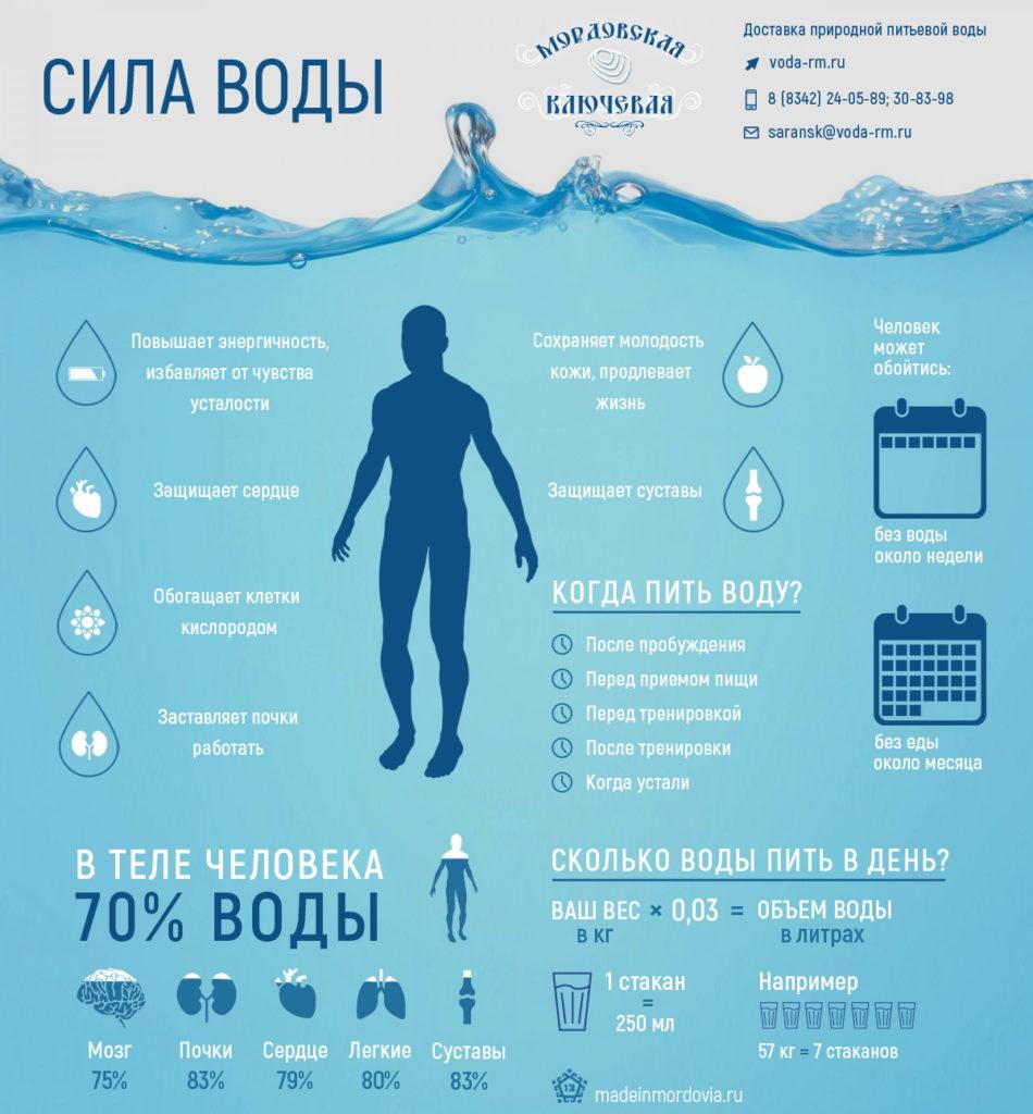 Значение воды в нашем организме - таблица