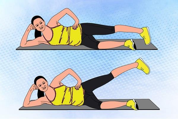 """Упражнение 9 - """"Подъем ноги лежа на боку"""""""
