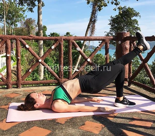 """Упражнение """"ягодичный мостик с поднятием ноги"""" 1"""