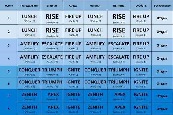 BodyShred календарь занятий